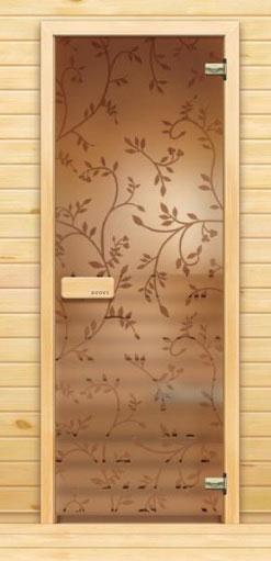 Стеклянная дверь для бани с рисунком